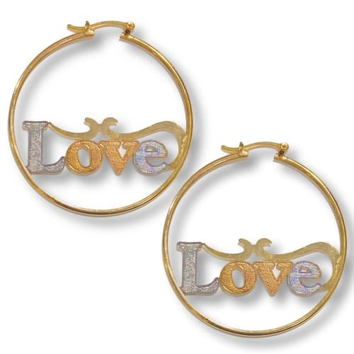 LOVE Gold Plated Earrings Hoop - Earrings