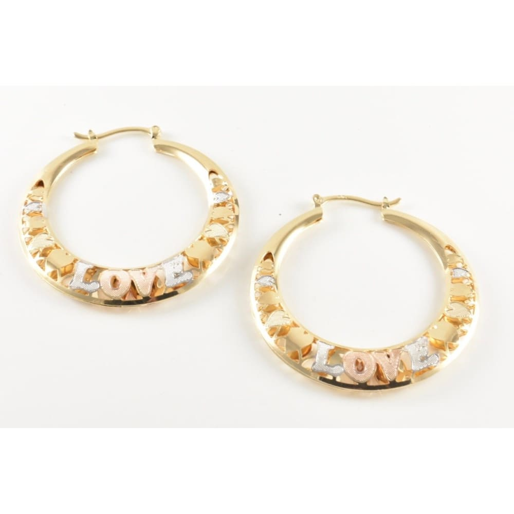 Love Filigree 18Kts Of Gold Plated Earrings Hoops