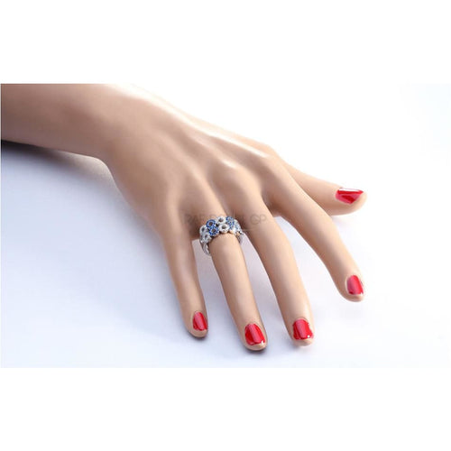 Lovely 8 Small Circle Design Ring With Micro Paved Clear And Blue Cz Stone Trendy Silver Jewelry Rings