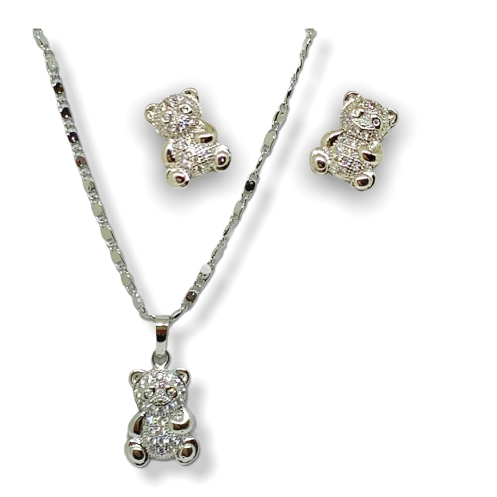 Lovely Teddy Bear Silver Plated Set Chains