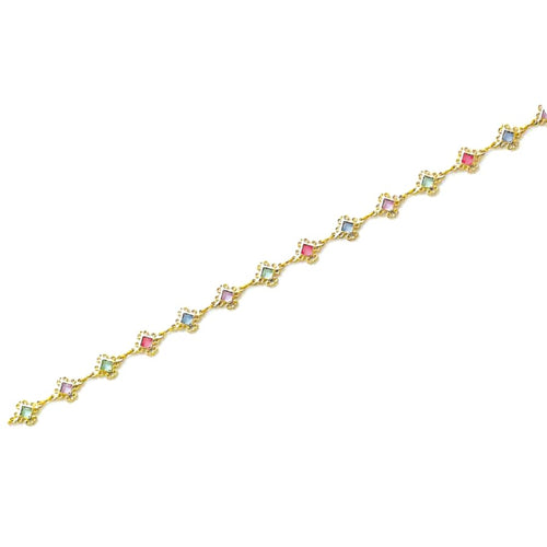 Multi-Color Squares Anklet 18Kts Of Gold Plated