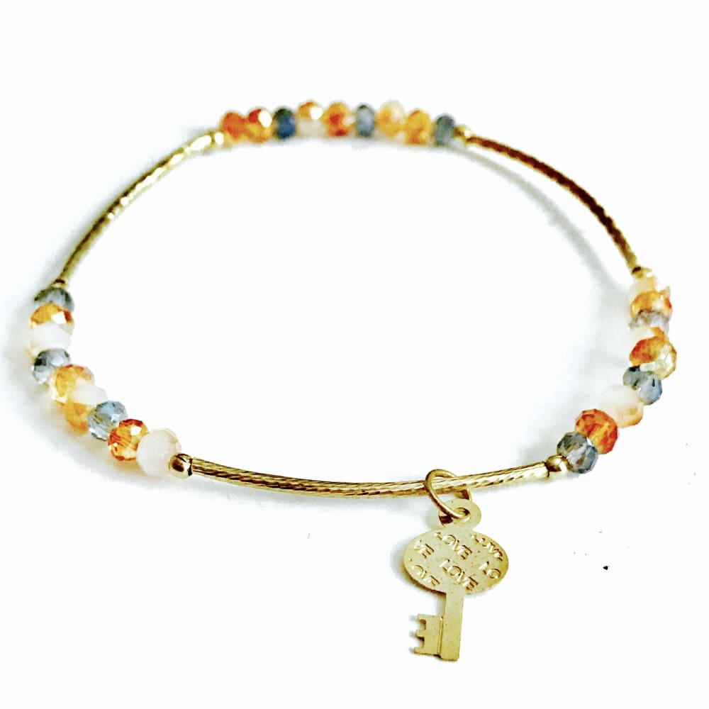 Multicolor Crystal Charm Beads Bracelet And Charms