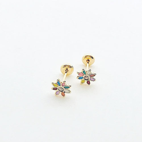 Multicolor Flower Studs 18k of Gold Plated Earrings Earrings