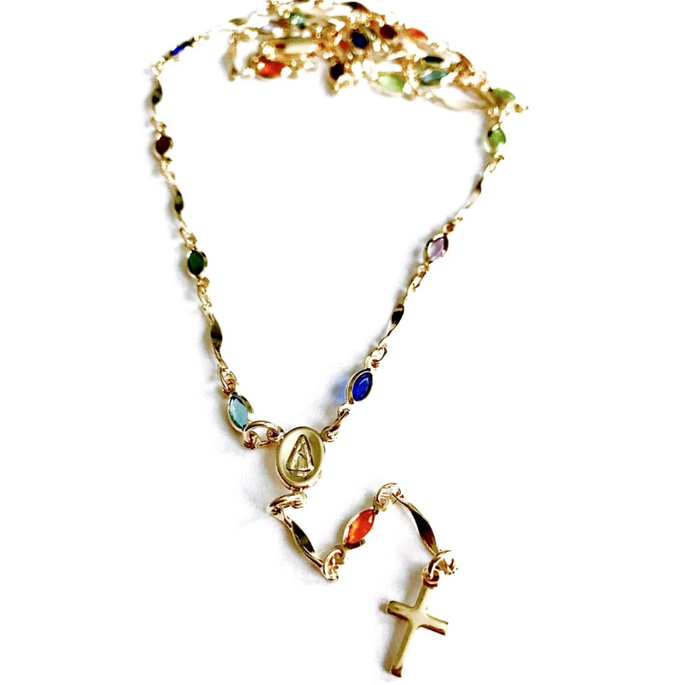 Multicolor Tones Stones Virgen Guadalupe 18K Gold Plated Rosary Rosaries