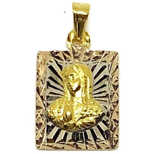 Olympic Christ Pendant Square Tri-Color Pendant Gold-Filled Charms & Pendants