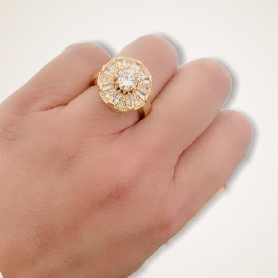 Oval Shape Clear Stones Ring in 18k of Gold Plated Rings
