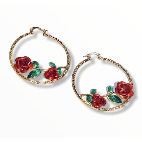 Red Rose Diamond Cut Hoop Earrings Raf Rossi Gold Plated