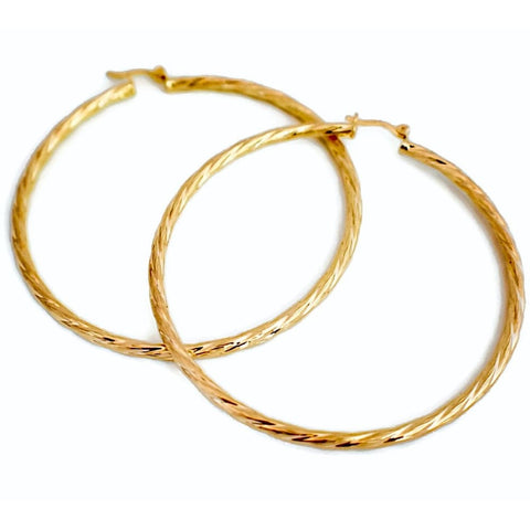 Hammered 18kts Gold Plated Earrings Hoops