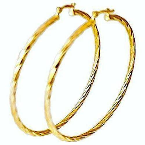 Rope 70Mm 18Kts Of Gold Plated Earrings Hoops