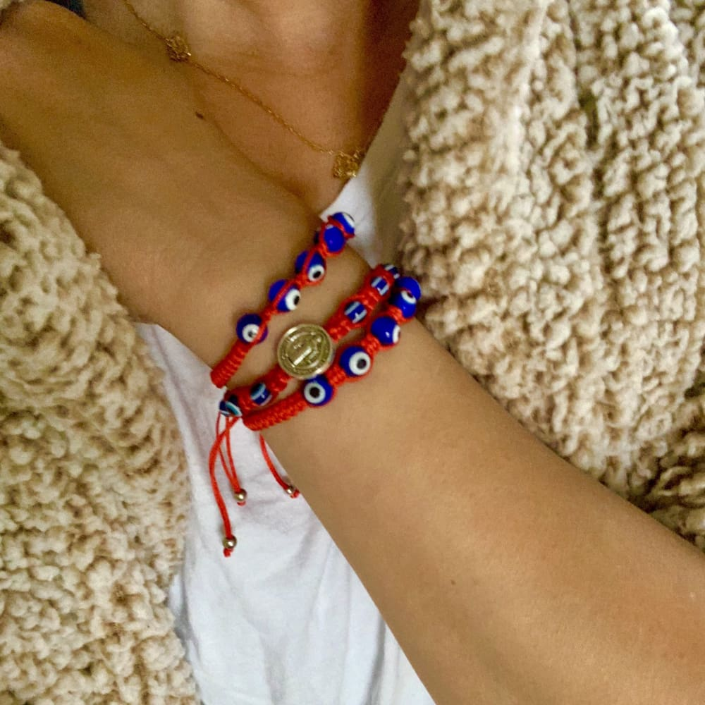 Saint Benedict Evil Eye Red Threads Bracelet Bracelets