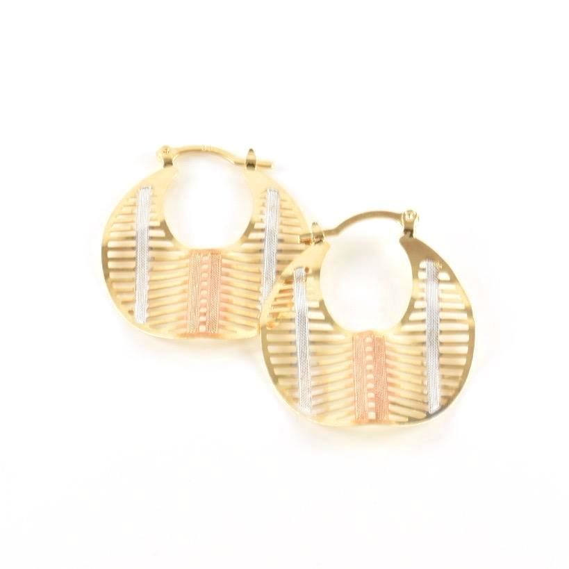 Spiral Waved Tri-Color Earrings Hoops 18Kts Of Gold Plated