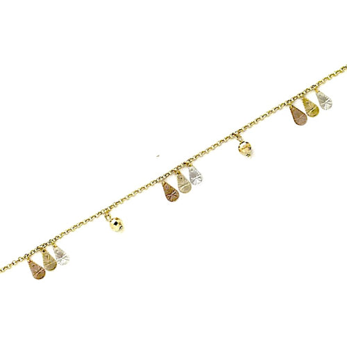 Tear Drops 3 Tones Charms Anklet 18Kts Of Gold Plated