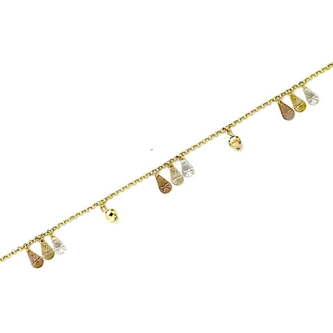 Angels and Stars Charms Design Anklet 18kts of Gold Plated