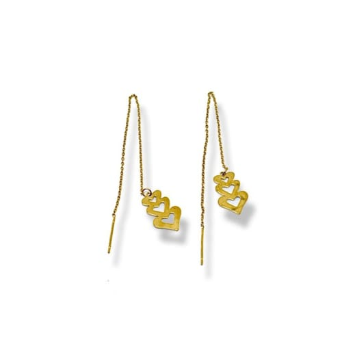 Three Hearts Threaders Gold Plated Earrings Earrings