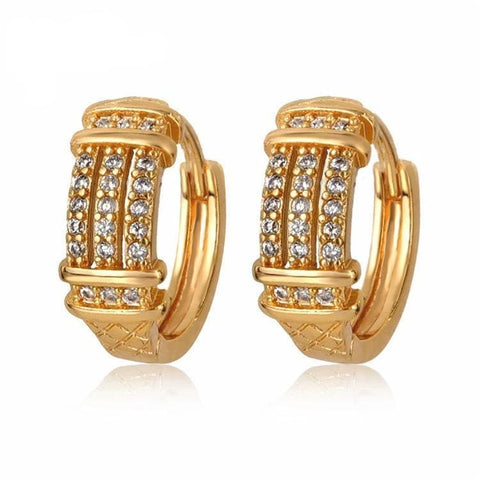 Multi-Color Crystals Huggies - Hoops Earrings 18Kts of Gold Plated