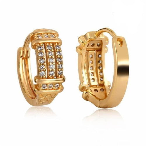 Three Roads Of Clear Cz Huggies 1Omm Earrings 18Kts Of Gold Plated Earrings