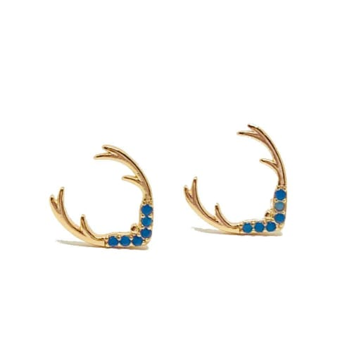 Tinny Antlers Studs Earrings in 18kts of Gold Plated Earrings