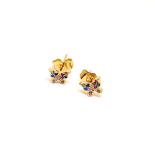 Tiny Butterflies Multicolor studs earrings in 18Kts of Gold Plated Earrings