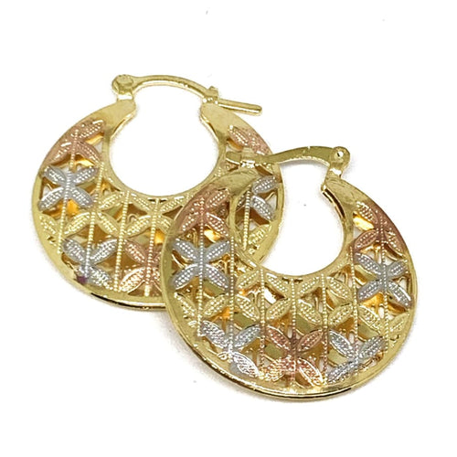 TRI-COLOR FILIGREE ROUND HOOPS Earrings