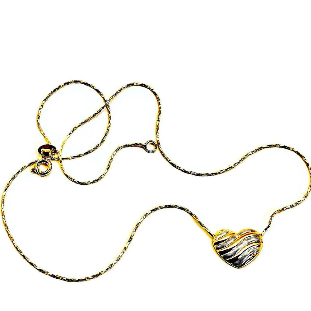 Tri-Color Heart 18 L Necklace 18Kt Of Gold Plated Chains