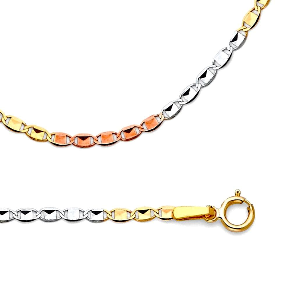 Tri Color Mariner 3Mm 18Kts Gold Plated Chain Chains