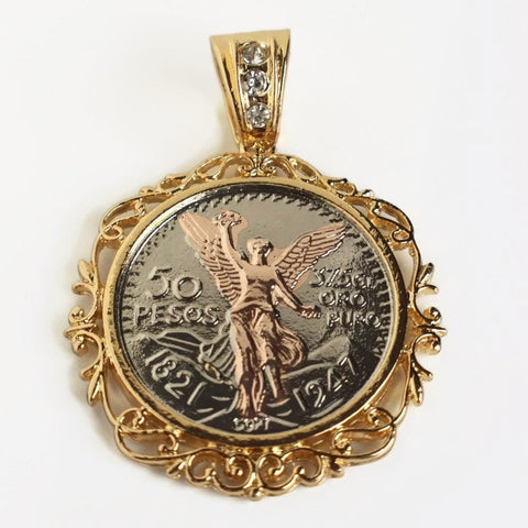 "Vines Edge 50 Pesos Angel Mexican 1.5"" Centenario Charm"