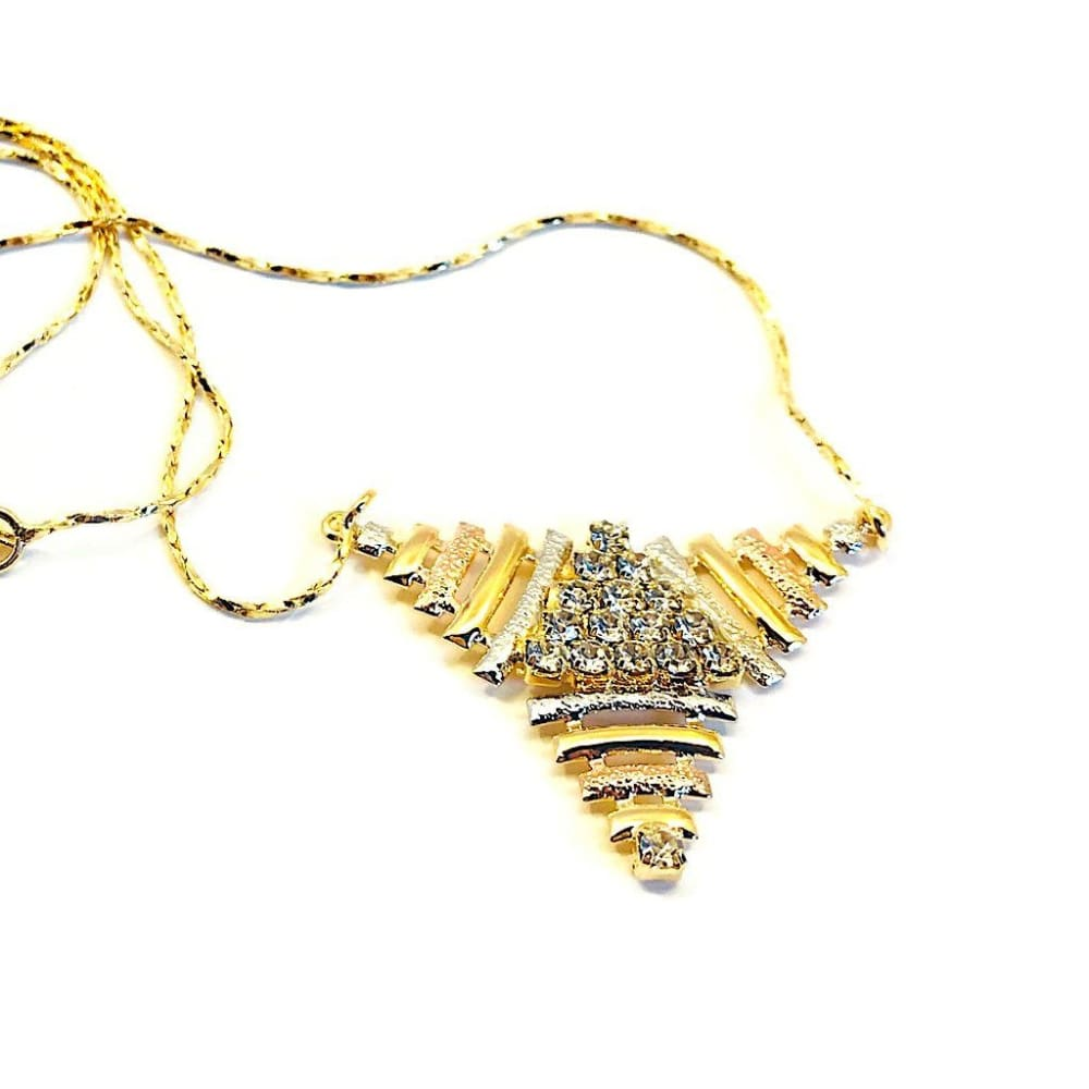 Triangle Tri-Color Necklace 18Kts Of Gold Plated Chains