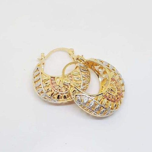Tribal Filigree Hoops Earrings 18kts of Gold Plated Earrings