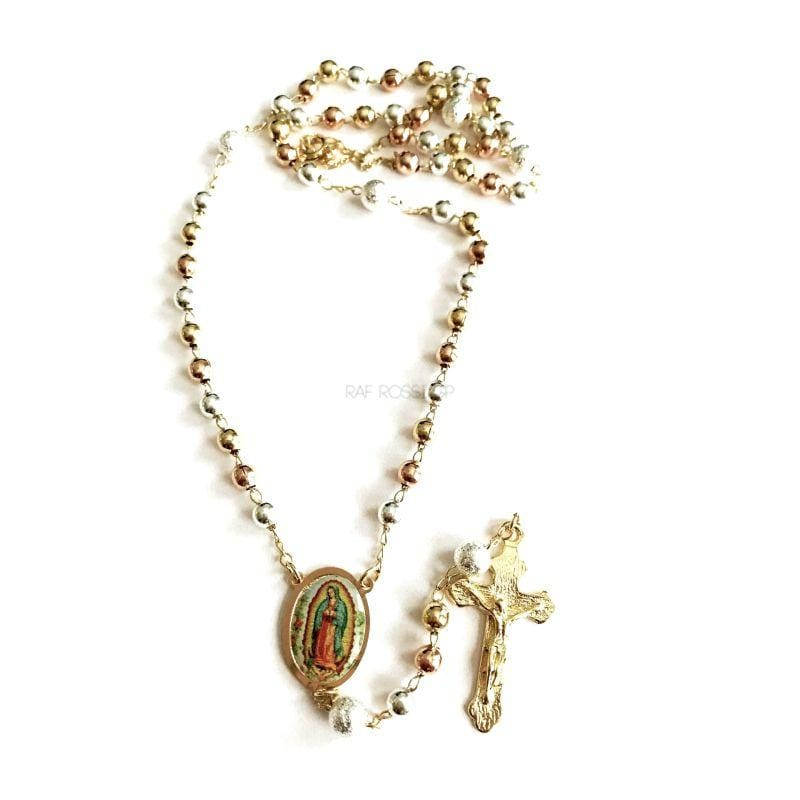 Tricolor Virgen de Guadalupe 18k Gold Plated 3mm Rosary Rosaries