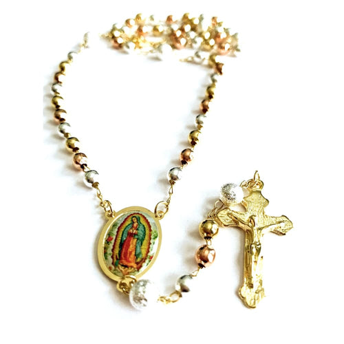 Tricolor Virgen De Guadalupe 18K Gold Plated Rosary Rosaries