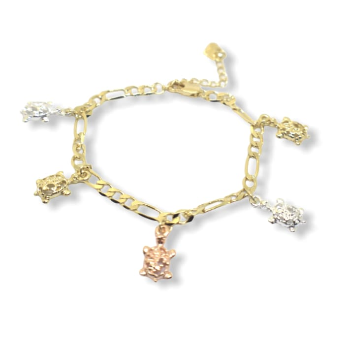 Turtle Charm Bracelet 7.5 18kts of Gold Plated 7.5 Bracelets
