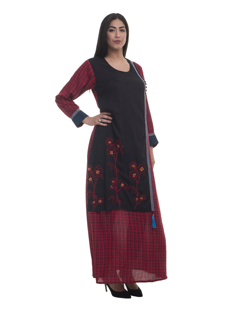 Color Block Rayon Jalabiya