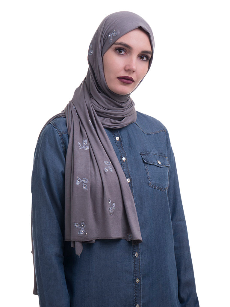 Embroidered Jersey Hijab
