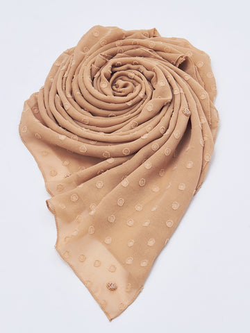 Textured Scarf with Motif Allover