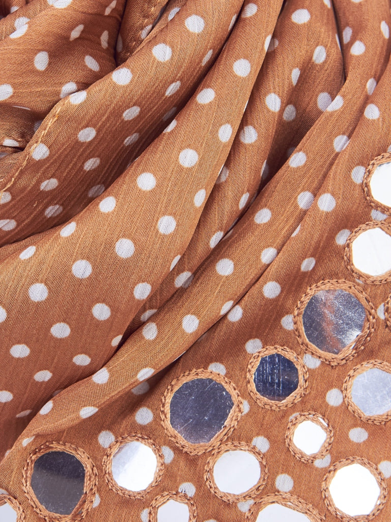 Polka Dotted Satin Scarf