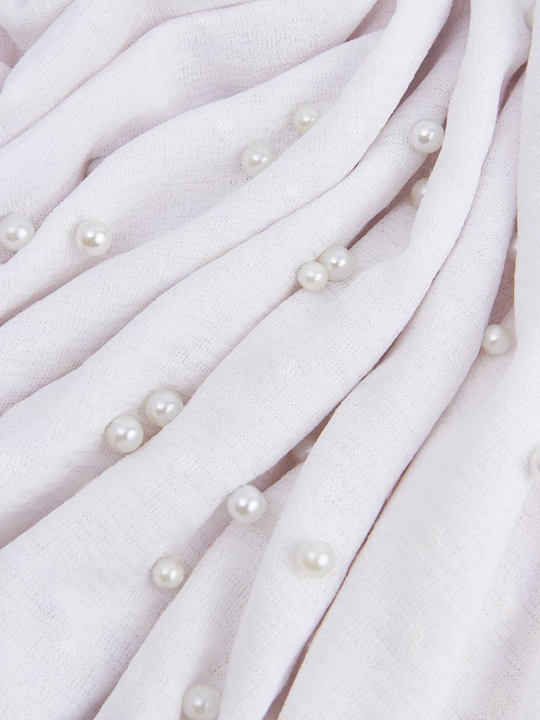 Polka Dotted Scarf with Faux Pearls