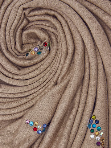 Jersey Hijab with Contrast Rhinestones