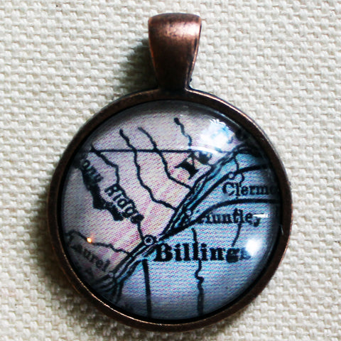 Billings Montana Antique Vintage Map Pendant