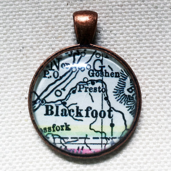 Blackfoot Idaho Vintage Map Pendant
