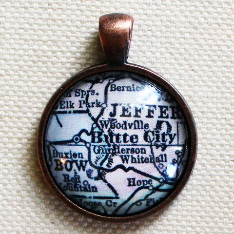 Butte Montana Antique Vintage Map Pendant