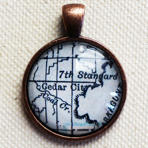 Cedar City Utah Vintage Map Pendant