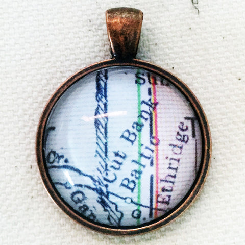 Cut Bank Montana Vintage Map Pendant