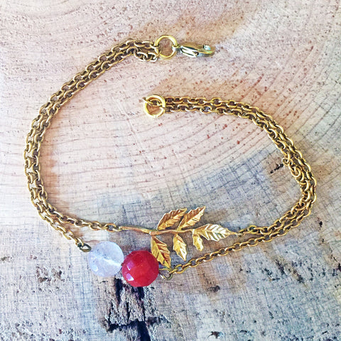 Brass Double-Strand Leaf Bracelet with Quartz and Carnelian Accents