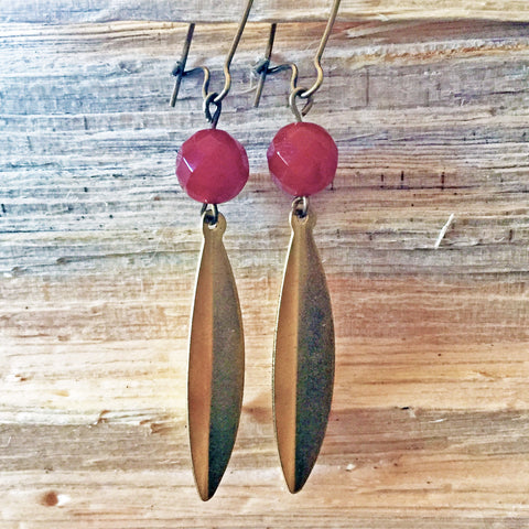 Brass Leaf Earrings with Carnelian Accents