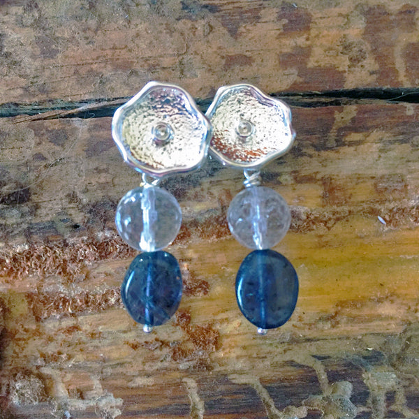 Silver Flower Earrings with Quartz and Iolite Accents