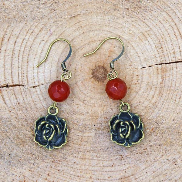 Carnelian Earrings with Antique Brass Rose Accents