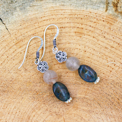 Iolite and Rutilated Quartz Earrings with Silver Floral Accents