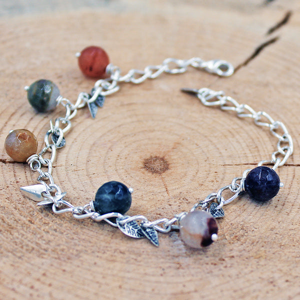 Quartz Bracelet with Leaf Accents