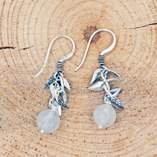 Quartz Earrings with Leaf Accents