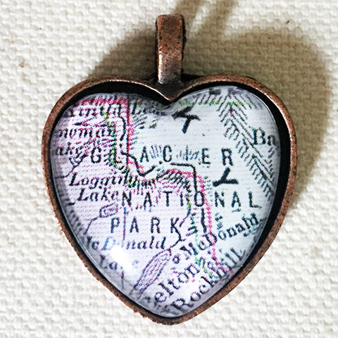Glacier National Park Montana Vintage Map Heart Pendant